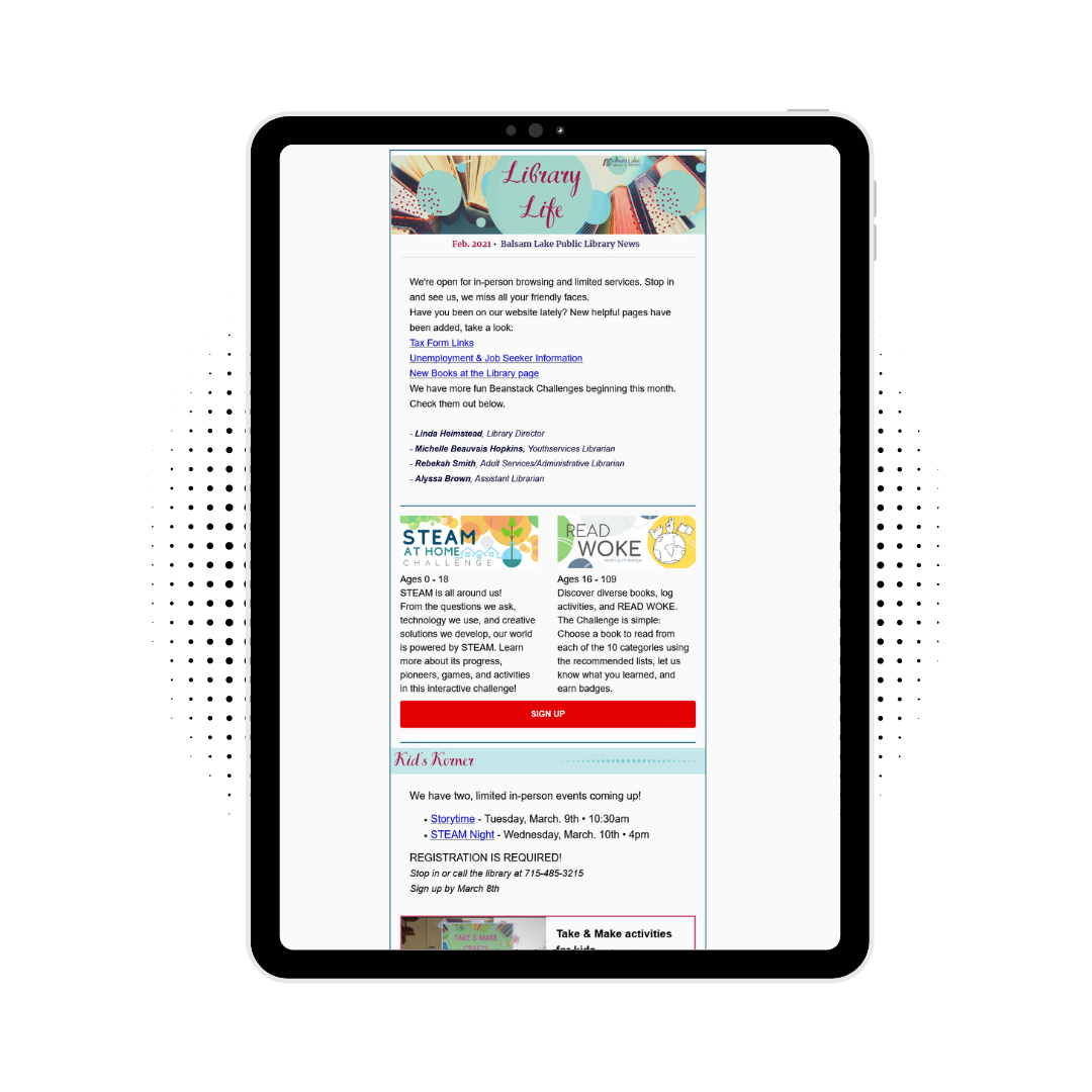 Newsletter on a tablet