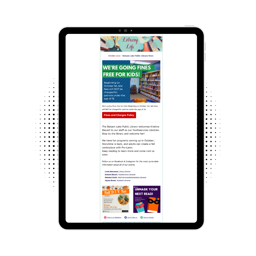 Pic of tablet with library life newsletter shown on it
